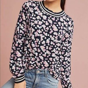 Anthropologie T.la Lena ribbed floral sweatshirt M